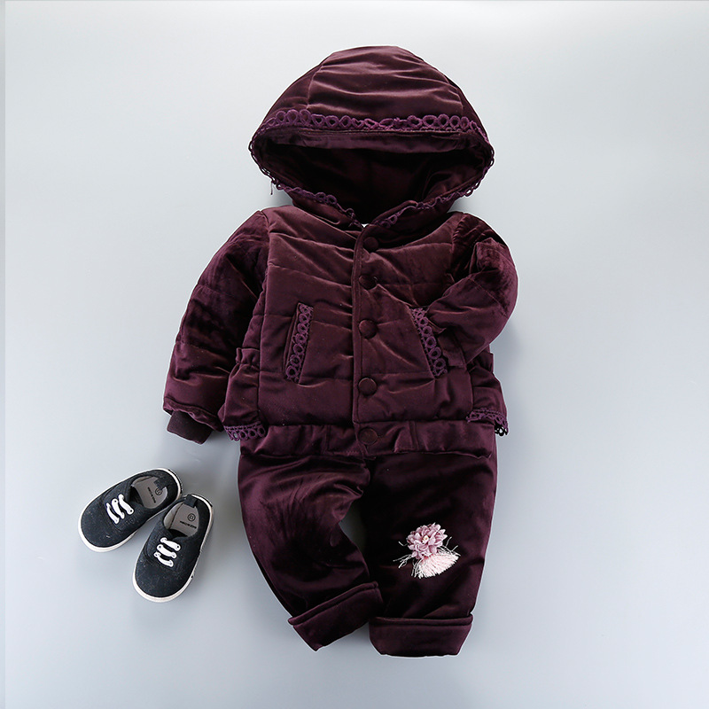 high quality!! new fashion brand baby girls winter warm set girls thick With velvet coat+pants 2pcs suit baby sport casual set<br>