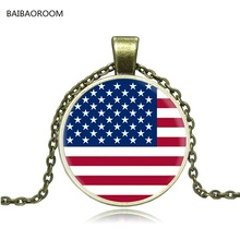 Best selling jewelry direct sales United States flag pattern retro time cameo glass necklace