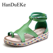 HanDuEKe New 2017 Bohemia Fashion Gladiator Sandals Summer Wedges Platform Sandals Women ladies Shoes Woman Beach Girls Sandals