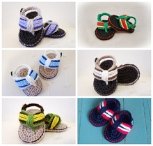 Free Shipping Handmade Baby Leisure Sandals, Crochet shoes, Sizes 0-12 Months,Baby boy Flip Flops 40pairs