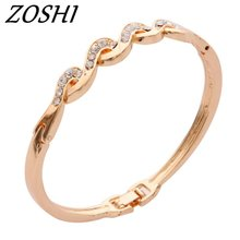Buy ZOSHI Top Rose Gold Color Cubic Zirconia Charms Bracelets & Bangles Jewelry Austrian Crystal Bracelets Women Gifts for $1.21 in AliExpress store