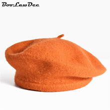 BooLawDee Wholesale and retail Autumn full woolen beret women elastic 56-59cm red blue black gray orange pink 05G-1