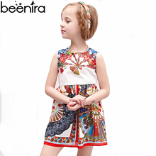 BEENIRA Summer Girls Retro Dress Kids Court Printing High Quality Banquet Costume Children Princess Clothing 2017(China)