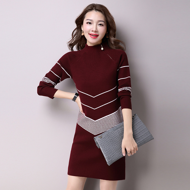 2018 Korean Style Knitted Women Sweater Dress Sweter Mujer Striped Half Turtleneck Long Sleeve Mini Women SweaterÎäåæäà è àêñåññóàðû<br><br>