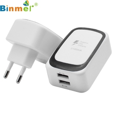 Factory price Binmer Hot Selling 2 USB Ports Travel Charger AC Adapter Wall Power Outlet Socket EU Plug White Drop Shipping(China)