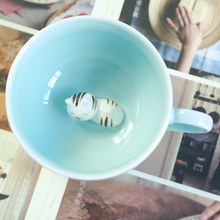 Exquisite handmade Sleepy cat ceramic cup Bottom lazy cat coffee cup 200ML(China)