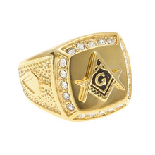 316 L Stainless Steel cool Gold color freemason ring Men hip hop iced out bling Masonic rings fashion jewelry