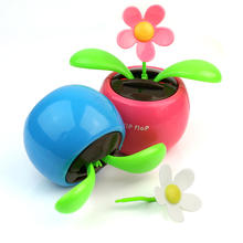 Home Decorating Chic Solar Power Flower Plants Waterproof Plastic Moving Dancing Flowerpot Swing Desk Window Car Decor Toy Gift