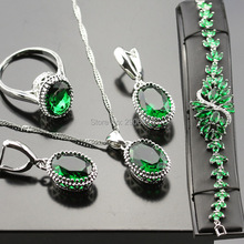 Women Jewelry Sets Green Silver Color Created Emerald Necklace/Earrings/Ring/Bracelet Crystal Set Bjs02-001-02