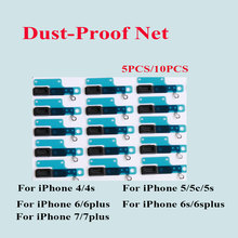 5pcs/lot & 10pcs/lot Rubber Dust-proof Net Mesh Stickers For iPhone 4 4S SE 5 5S 5C 6 6S 7 Plus Earpiece Speaker Aniti Dust Mesh(China)