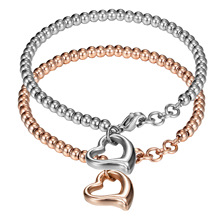 Friendship Jewelry Fashion Exquisite Hollowed Heart Girl Bracelet Stainless steel Hollow Heart Bracelets Wedding Gifts for Women(China)