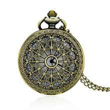 Pocket Watch Zinc Alloy with Glass Flat Round antique bronze color plated lead & cadmium free 40-50mm Sold By PC(China)