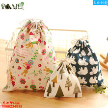 Printing cotton and linen travel bag pockets luggage drawstring clothes storage finishing bags