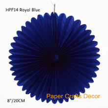 20pcs/lot 8inch=20cm Royal Blue Folding Tissue Paper Flower Pinwheel Fans Wedding Birthday Party Hanging Decorations(China)
