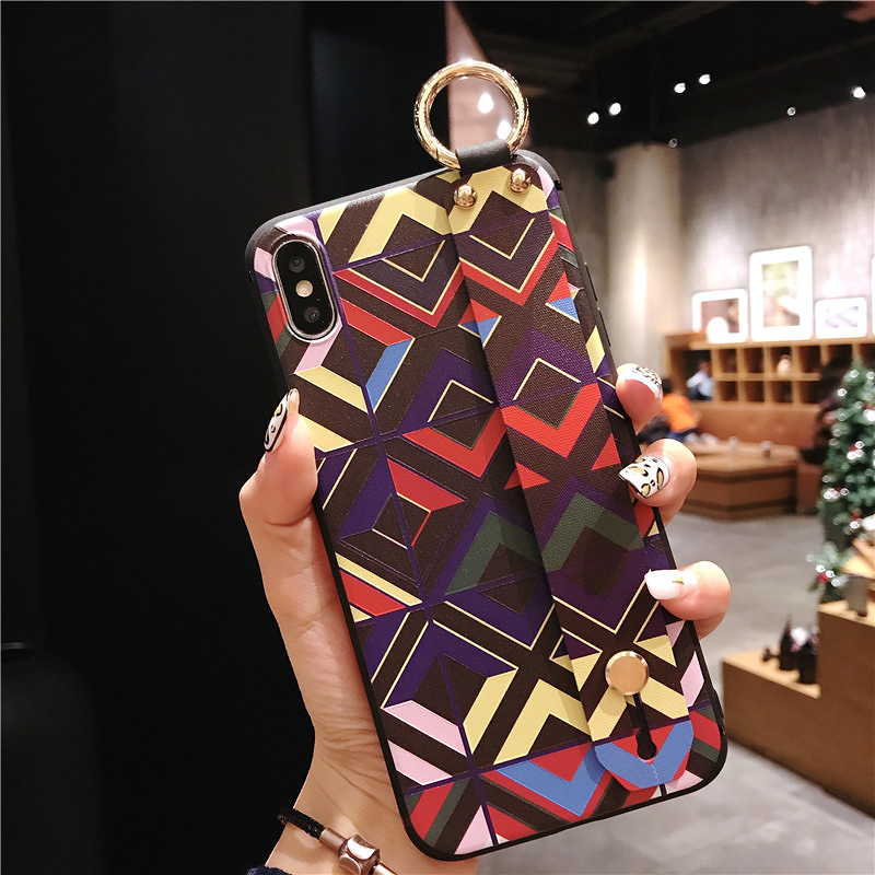 10 SoCouple Retro Grid Pattern Wrist Strap Phone Case For iphone 7 8 6 6s plus Case For iphone X Xs max XR Soft Silicone Case