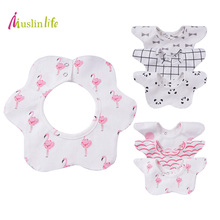 Muslinlife Lovely Flower Style Baby Bibs, Fashion Pattern Dot Cactus Flamingo Bibs Girls Boys, for 0 to 2T(3pcs/lot)(China)