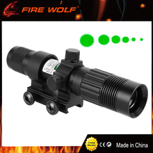 FIRE WOLF Tactical Green Laser Sight Adjustable Green Laser Designator Flashlight Illuminator Hunting Laser Sight With 21mm Rail(China)