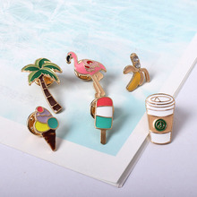 Free shipping Cartoon Cute Coconut tree Flamingo Coffee Tree Ice cream Metal Enamel Brooch Pins Button Pins wholesale