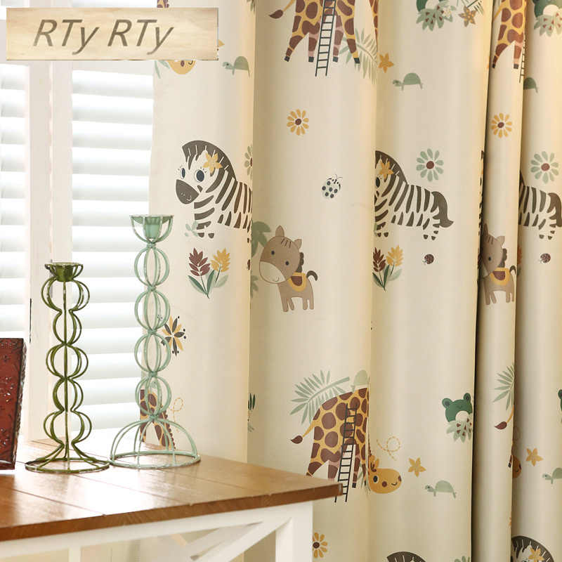 Cartoon Zebra Animal Printed Blackout Curtains For Children Room Cortina Sheer Curtain For Kids Room
