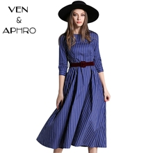 VA Long Dresses 2017 Women Winter Dress Striped Belt robe hiver Christmas Dress vestido mujer Elegant Work sukienka ukraine W839