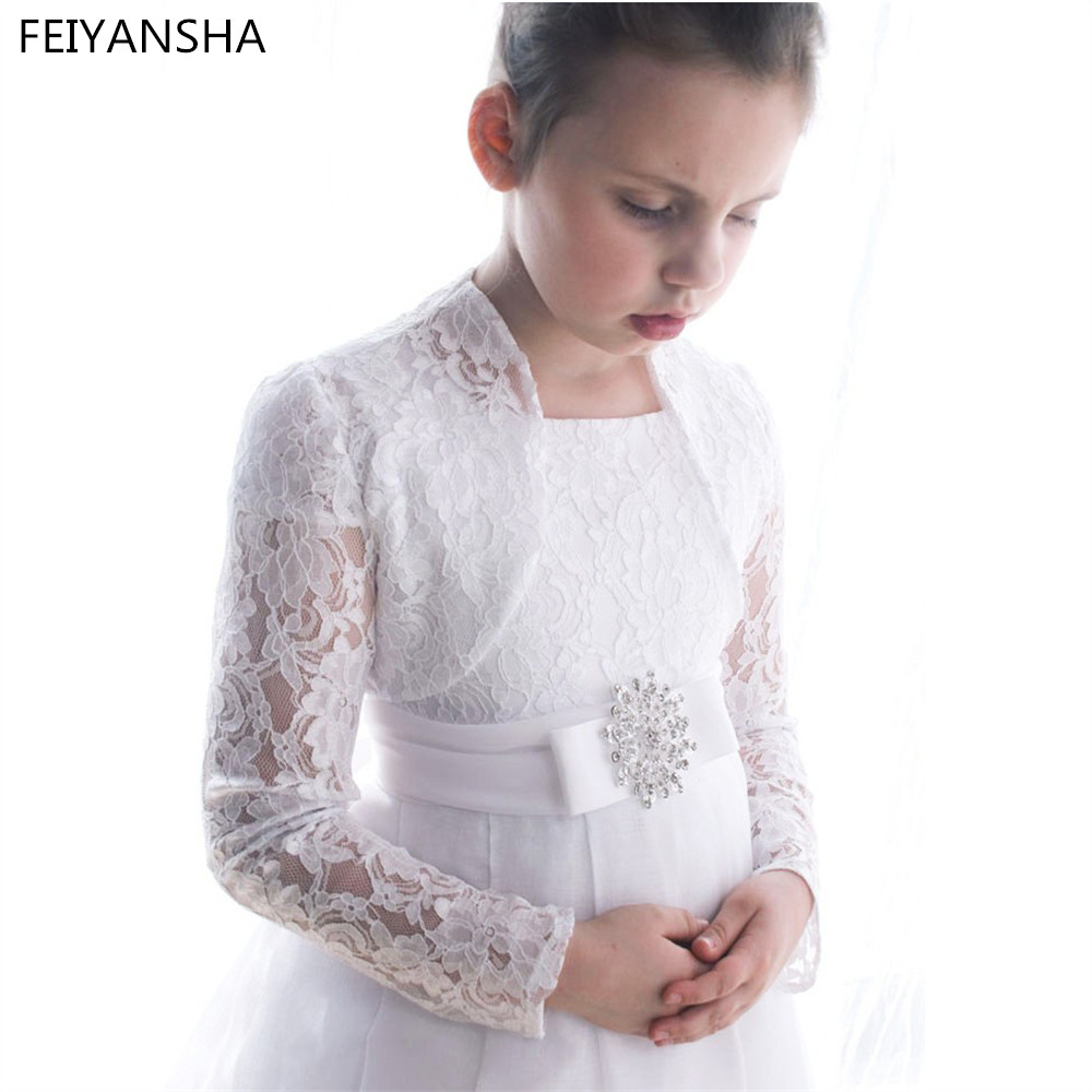 New White Lace First Communion Dresses for Girls Flower Girl Dresses for Weddings with Jacket Girls Pageant Dresses