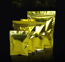 100Pcs/Lot gold color Aluminum Foil Zip Lock Bag Mylar Self Seal Vacuum Ziplock Packaging Pouches Tee Coffee Packing Storage Bag(China)