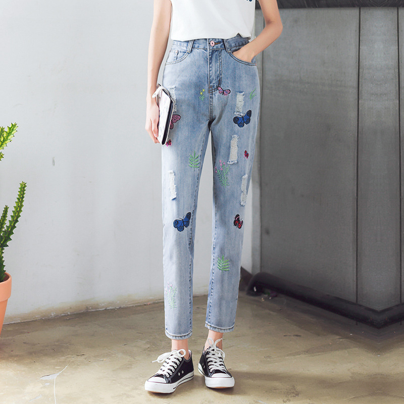 Kesebi 2017 Spring Summer New Hot Female Classic Ankle-length Washed Basic Trousers Women Casual Embroidery Pencil Pants JeansОдежда и ак�е��уары<br><br><br>Aliexpress
