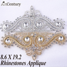 High Quality Strass Applique 8.6x19.2cm 1pcs Dazzling Glass Material Crystal Rhinestones Applique For Wedding Decoration(China)