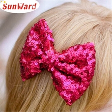 SunWard Newly Design Kids Girl Fashion Sequin Barrettes Bling Bling Big Bow Hair Clips Headbands Boutique Accessories  Aug4