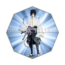 Custom Top Quality Hot Sale Rain Sun Umbrella 43.5 inch Uchiha Sasuke Anime Cool 3 Fold Umbrellas Good Gift For Birthday Friend(China)
