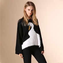 European style Women Little Swan catwalk loose knitted sweater Classic Brand pullovers oversized sweaters tops ladies blouses