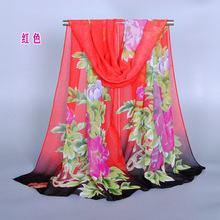 ladies printe big flower scarf/scarves beach chiffon silk floral beach plain winter hijab shawls/scarf 10pcs/lot(China)