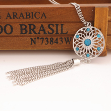 Fashion Retro Women Tassels Pendant Necklace Jewelry Bohemia Bead Flower Net Pendant Chain Necklace Gift(China)
