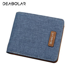 2017 Thin Men Canvas Wallet Male Brand Slim Leather Wallets Money Dollar Card Holder Purses for Men Free Shipping(China)