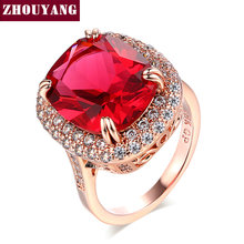 ZYR199 Red Crystal Ring Rose Gold Color Made with Genuine Austrian Crystals Full Sizes Wholesale