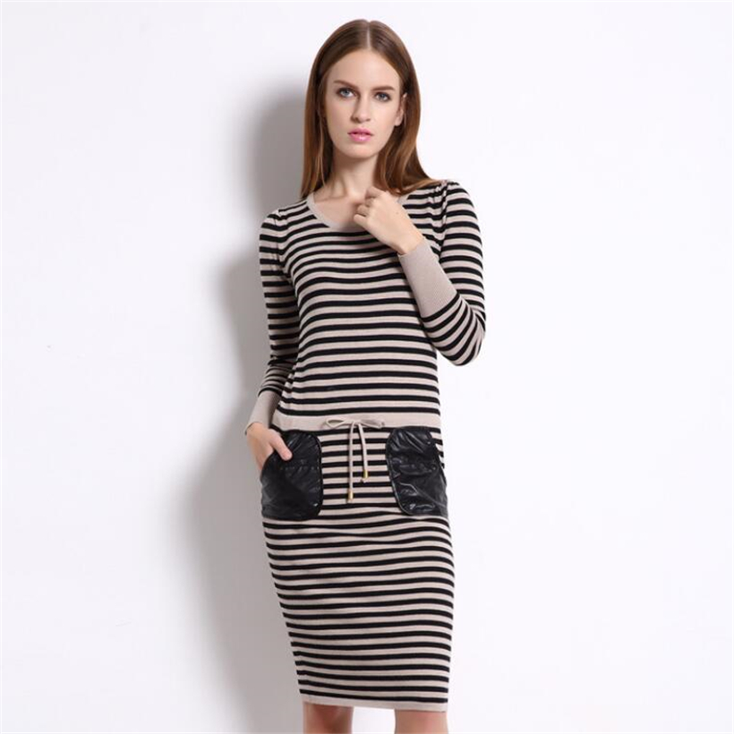 Sweater Dress Winter Cotton Women Knitted Pullovers Ladies long-sleeved package hip stripe dress Femme Warm Sweaters dressesÎäåæäà è àêñåññóàðû<br><br>