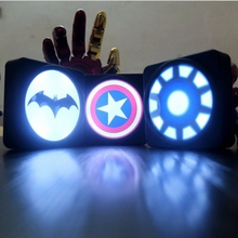 LED Super Cool Batman Captain America Shield lights travel charger power bank 13000mAh external battery For IOS Android Phones