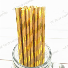 300pcs Foil Gold Kraft Paper Straws Rustic Wedding Vintage Gold 1st Birthday Paper Goods Retro Sweet Party Decorations(China)
