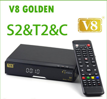 V8 Golden Satellite TV Receiver HD DVB-S2 + DVB-T2 / DVB-C Twin Tuners decoder Support USB WiFi Ethernet CCcam NEWcamd Youtube