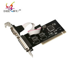 DIEWU RS232 RS-232 Serial Port COM & DB25 Printer Parallel Port LPT to PCI riser Card Adapter Converter TX382A or AX9865 Chip(China)