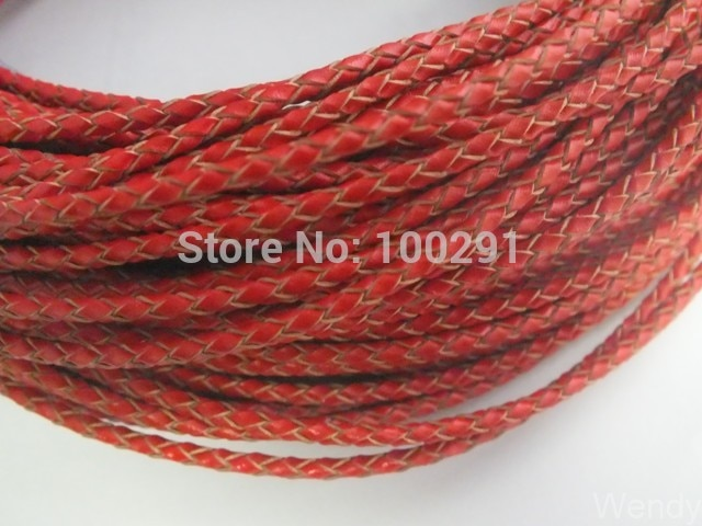 Free ship!!! 50 Meters High quality natural 3 mm Red braided genuine leather cord  MN-3498