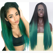Handmade Glueless Natural Ombre Green Lace Front Wig Synthetic Hair 2 Tone Colors for Women Long Straight Heat Resistant