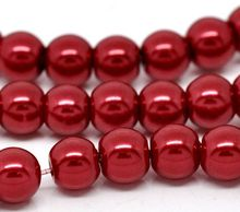 "DoreenBeads Retail Red Glass imitation pearl Round Beads 8mm Dia.32"",sold per pack of 5 Strands"