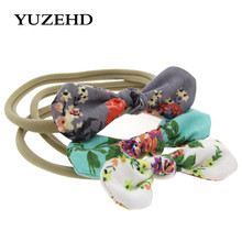 3pcs set Kids Nylon Elastic Head band With Floral bow Knit Headbands Turban Headband DIY Flowers hair accessories for girls(China)
