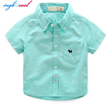 2016 White Pink Blue Yellow Boy Shirt baby boy clothes boys dress shirts plaid child all for children clothing shirt for kids(China)