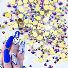 1440pcs Crystal Glitter AB Gold Nail Art Decorations New DIY Glass Flatback Rhinestones for Nails Phone Clothe Decor NJ246(China)