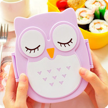 Kawaii Candy Color Owl Box Microwave Oven Bento Container Case Dinnerware Children\'s Birthday Gift(China)