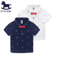 2016 High Quality Baby Boys Clothes Cotton Summer Short Sleeve Kids shirts Boys Polo Shirt with Bow Tie for children 2-10Y(China)
