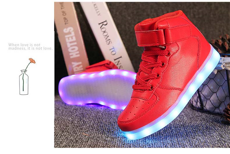 LED Shoes Men High Top Light Up Luminous Leisure Casual Glowing Flash Tenis Unisex Hot Fashion USB Charge Remote Men Shoes