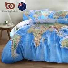 BeddingOutlet World Map Bedding Set Vivid Printed Blue Bed Duvet Cover with Pillow Covers Soft Cozy Home Textiles AU SIZE 3 Pcs